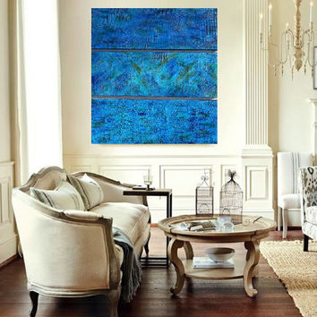 Textured Wood Panel Acrylic Paintings - Original Paintings - Wall Art - Multi Panel Art - Large Modern Art  -  Blue Abstract Paintings
