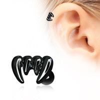 PVD Plated Black Vampire Fangs Cartilage Earring
