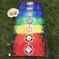 Better Quality Made Of Cotton Bohemia India Mandala Blanket 7 Chakra Rainbow Tapestry Beach Throw Mat Yoga Mat
