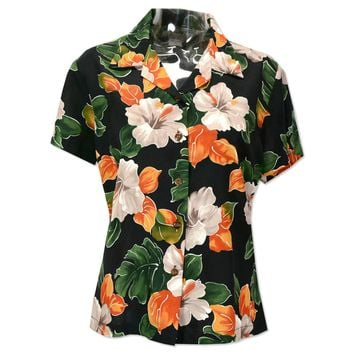 hoopla black hawaiian lady blouse