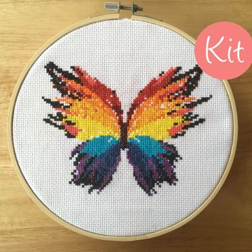 Modern Cross Stitch Kit - Colorful Butterfly