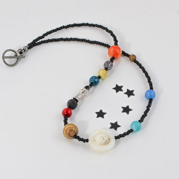 Solar System Necklace, Man on the Moon, Planets Necklace, Planets Jewelry, Galaxy Jewelry, Astrology Jewelry, Astronomical Jewelry, Unisex