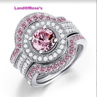 3pcs/lot Pink Cubic Zirconia Engagement Ring Silver Color AAA Austrian Crystal Moissanite Wedding Band Rings