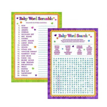 Adorox Baby Shower Word Search & Word Scramble games for Boy & Girl (unisex)
