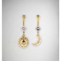 14 Gauge Gold Sun & Moon Dangle Belly Ring 2 Pack - Spencer's