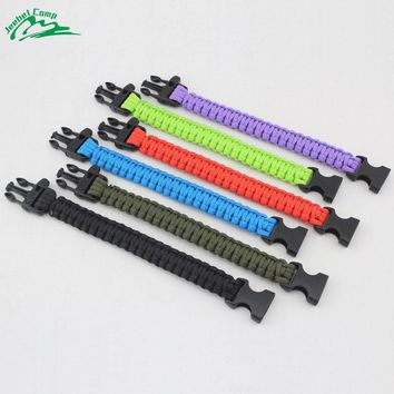 Jeebel 550 4mm paracord Self-rescue Parachute Cord Bracelets Whistle Buckle Survival Camping Travel Kit Outdoor Rope Emergency