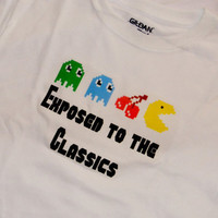 Kids Pacman T-Shirt. Exposed to the Classics. Retro Gamer Inspired. Can Be Customized By Size.