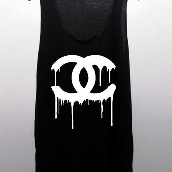 CHANEL Dripping COCO CHANEL black or white T Shirts Tank Top Tunic women handmade silk screen printing