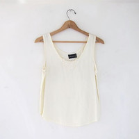 80s natural cream tank top. Cropped tank.