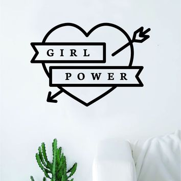 Girl Power Heart v2 Wall Decal Sticker Vinyl Art Bedroom Living Room Decor Decoration Teen Quote Inspirational Motivational Cute Lady Woman Feminism Feminist Empower Grl Pwr Love Strong Beautiful