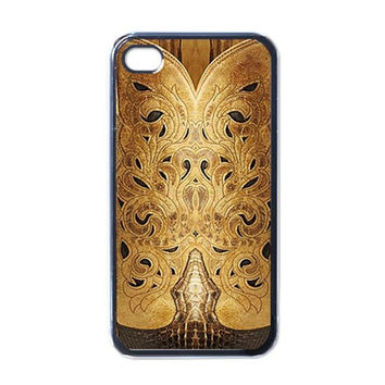 Golden Brown Tooled Faux Leather Look Apple iPhone 4 Case (Black)