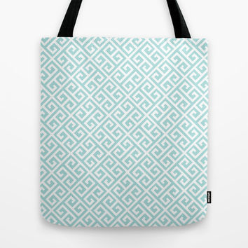 Tiffany Blue Greek Key Pattern Tote Bag by Enduring Moments
