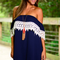 Half Time Special Dress, Navy/White