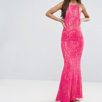 Jarlo Tall Allover Lace High Neck Maxi Dress at asos.com