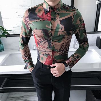 High Quality Slim Fit Long Sleeve Designer Print Dress Shirt