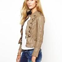 Pepe Jeans Military Leather Jacket - taupe