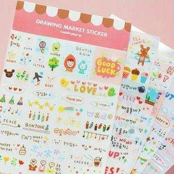 Drawing Market Sticker Set - Deco Sticker - Diary Sticker - Korean Sticker - 6 sheets