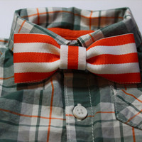 Orange & White Striped Clip-On Bow Tie, Baby Bow Tie, Boys Bow Tie, Toddler Bow Tie, Clip On Bowtie, Newborn Photo Prop, Girls Hair Bow