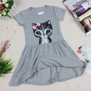 Ribbon Strip Cat Print Dress for Girls