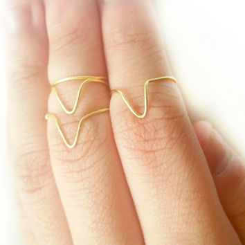 Chevron Midi Ring Set - Gold Wire Knuckle Ring set of 4