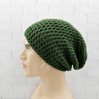Olive Green Beanie, Crochet Slouchy Hat, Hat for Men, Crochet Beanie, Winter Hat, Mens Slouch Beanie, Vegan Hat, Oversized Hat