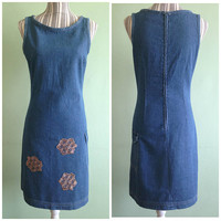 Fitted Denim Dress, Blue Jeans Dress, Sleeveless Dress, 90s Grunge Dress, Hipster Summer Dress, Cotton Sarafan, Vintage Clothing, Size Small