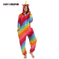 2018 Hooded Red Unicorn Costume Kigurumi Cosplay Women Winter Flannel Anime Onesuit Outfit Adult Men's Unicornio Pijama For Party