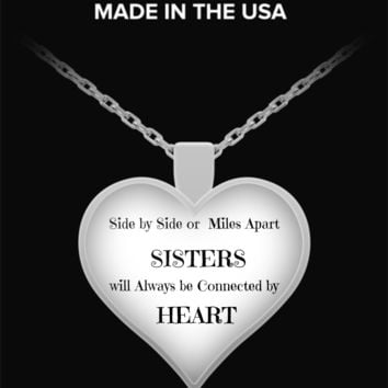 Sisters Connected By Heart Necklace