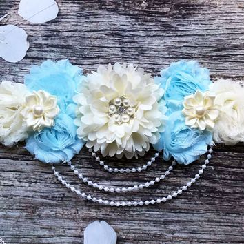 Blue and Cream Lace and Pearls Maternity Sash