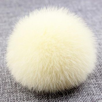 8cm Nature Genuine Rex Rabbit Fur Ball Pom Pom Fluffy DIY Winter Hat Skullies Beanies Knitted Cap Pompoms  F001-beige