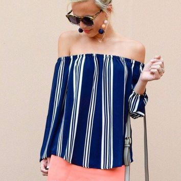 Nautical Dreaming Off the Shoulder Top