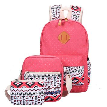 Day-First™ 3 Pcs/Set Fashion Canvas Printing Backpack Women School Bags for Teenage Girls Cute Book bags Laptop Backpacks Female