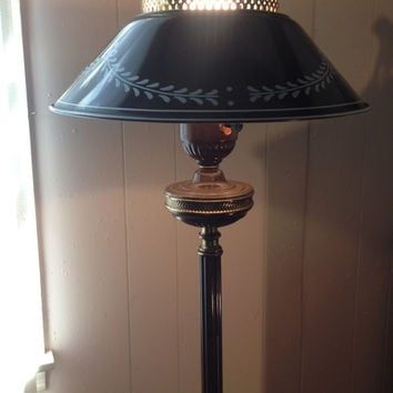 Hitchcock Floor Lamp with Toleware Porcelain Shade