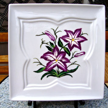 Hand Painted Butterfly Plate With Purple Flowers, Hand Painted Decorative Plate