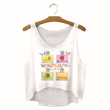 Womens Wonderful Life Printed Show Hilum Tank Top Sports Vest Summer Gift - 09