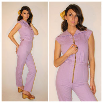Vintage DENIM Jumpsuit, RARE Lavender Sexy Zip Down 1970s Disco HOTPANTS Romper Playsuit
