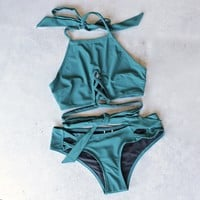final sale - minkpink - oceans criss cross bikini separates in dark teal - mix & match