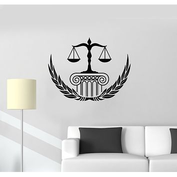 Vinyl Wall Decal Law Firm Office Court Scales Of Justice Legislation Stickers Mural (g1506)