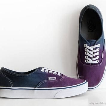 Dip dye Vans Authentic, purple, navy blue ombr¨¦ tie dye, skate shoes, upcycled vintage