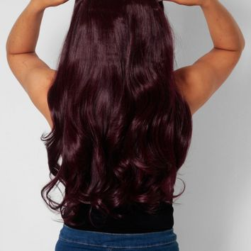 Dark Burgundy Curly Instant Full Head Clip In Hair Extensions | Pink Boutique