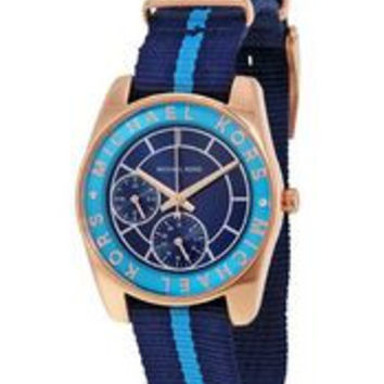 Michael Kors Women's Ryland Navy and Turquoise Grosgrain Strap Watch 33mm MK2402