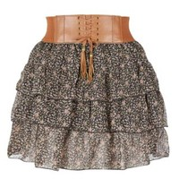 New Look Mobile | Teens Black Ditsy Floral Tier Belted Mini Skirt