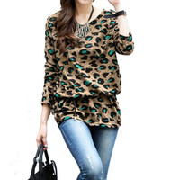 Leopard Print  Long Sleeve Tunic Loose Top