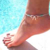 Silver Bow Anklet with Turquoise Beads