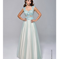 Sheer Illusion Mint Green Gown