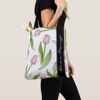 Pink Tulip Floral Patten Modern Chic Personalized Tote Bag