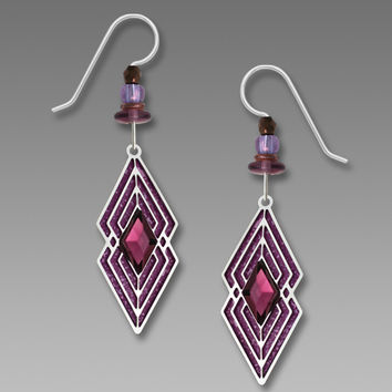 Adajio Earrings - Magenta Double Diamond Shape with Amethyst Colored Crystal
