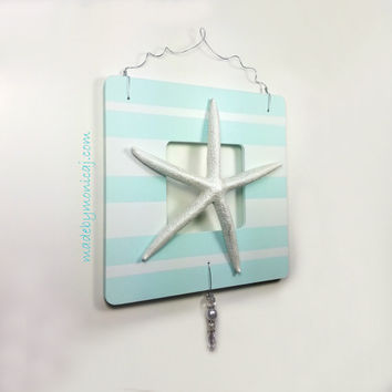 Nautical Nursery Wall Decor.  Light Aqua and White Stripe Starfish Wall Hanging.  Wooden Frame Wall Hanging.