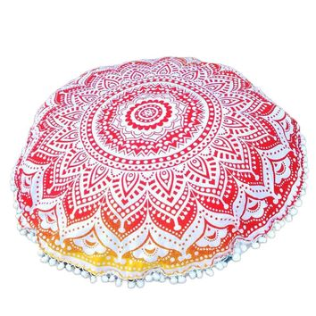 Indian Large Mandala Floor Pillows Round Bohemian Cover decorative throw pillows