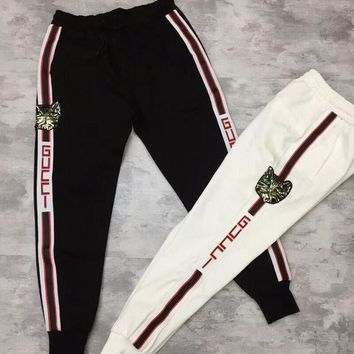 """Gucci"" Fashion Women Men Casual Stripe Sequin Cat Head Embroidery Sport Stretch Pants Trousers Sweatpants I-CY-MN"